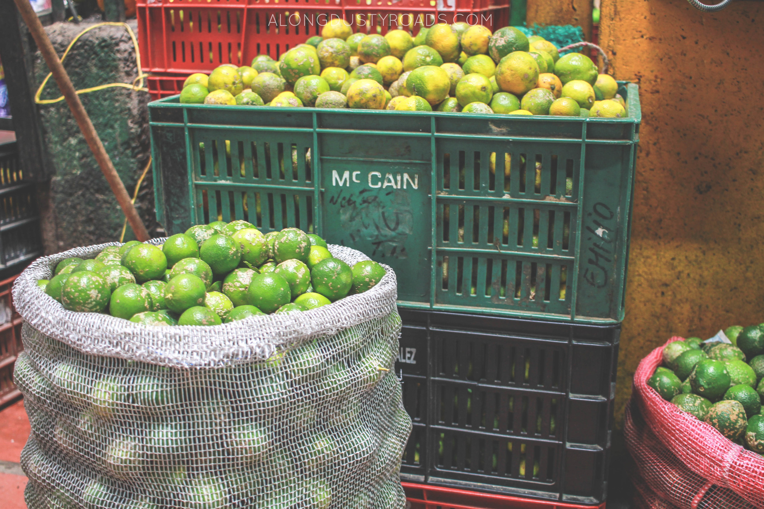 crates and bags of limes