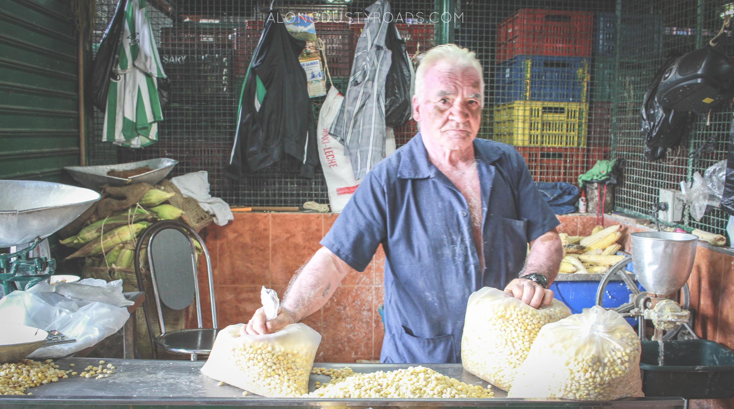 the corn man minorista market, medellin