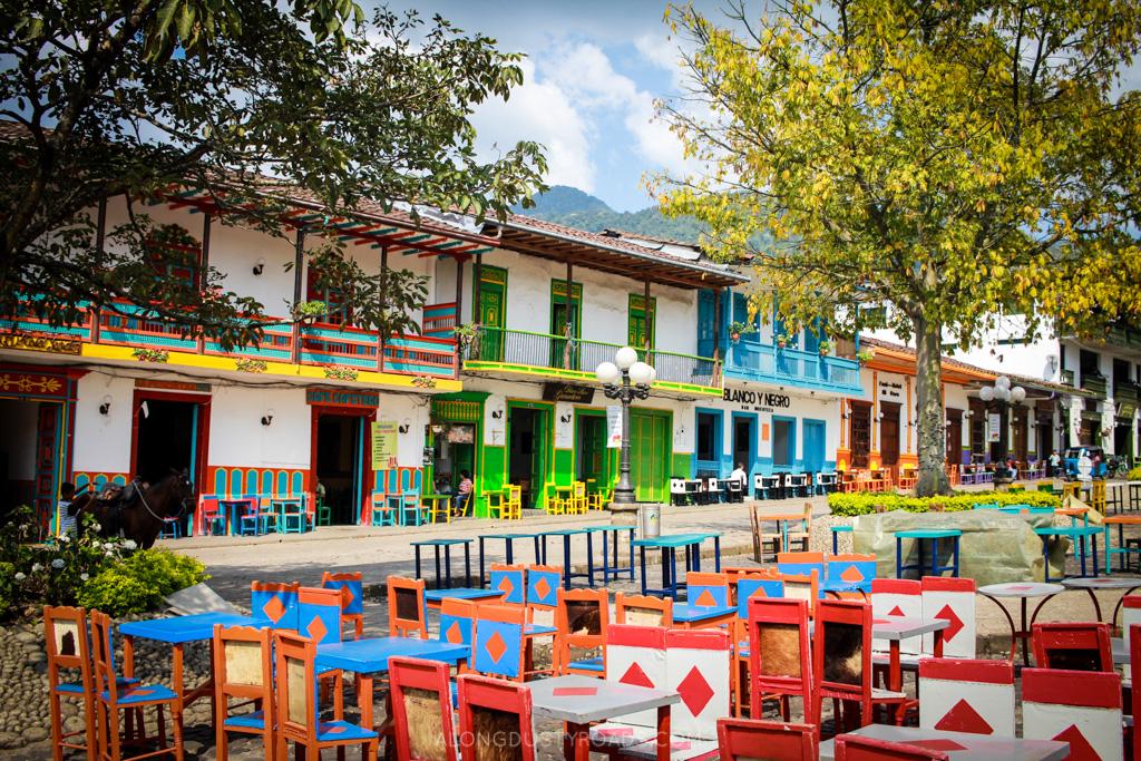 colourful main plaza jardin colombia