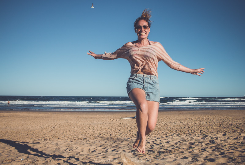 Jumping for joy in Punta del Este, Uruguay