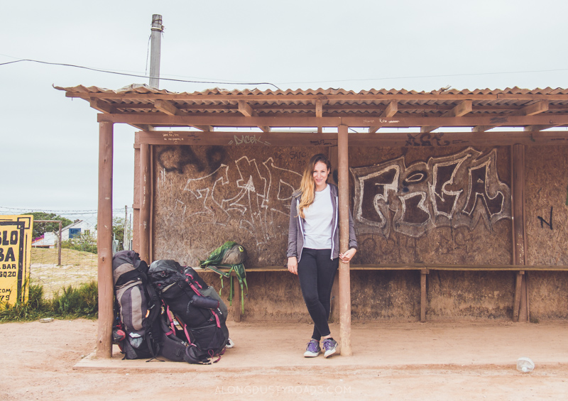 Waiting at the bus stop in Punta del Diablo, Uruguay