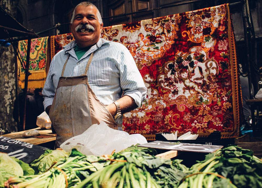 A happy market seller in Montevideo, Uruguay