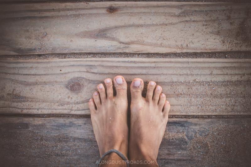 Sandy feet on the Uruguayan coast