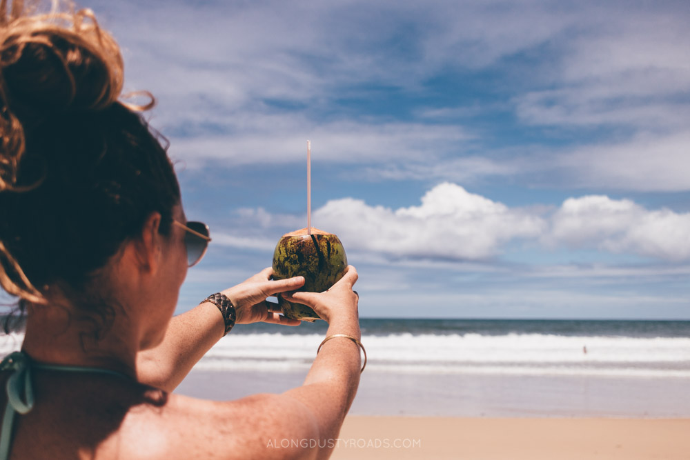 Drinking from coconuts in Brazil