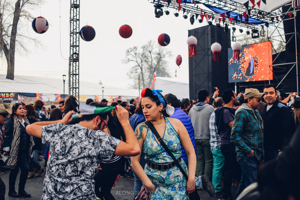 Dancing the cueca during Independence Day, Santiago, Chile