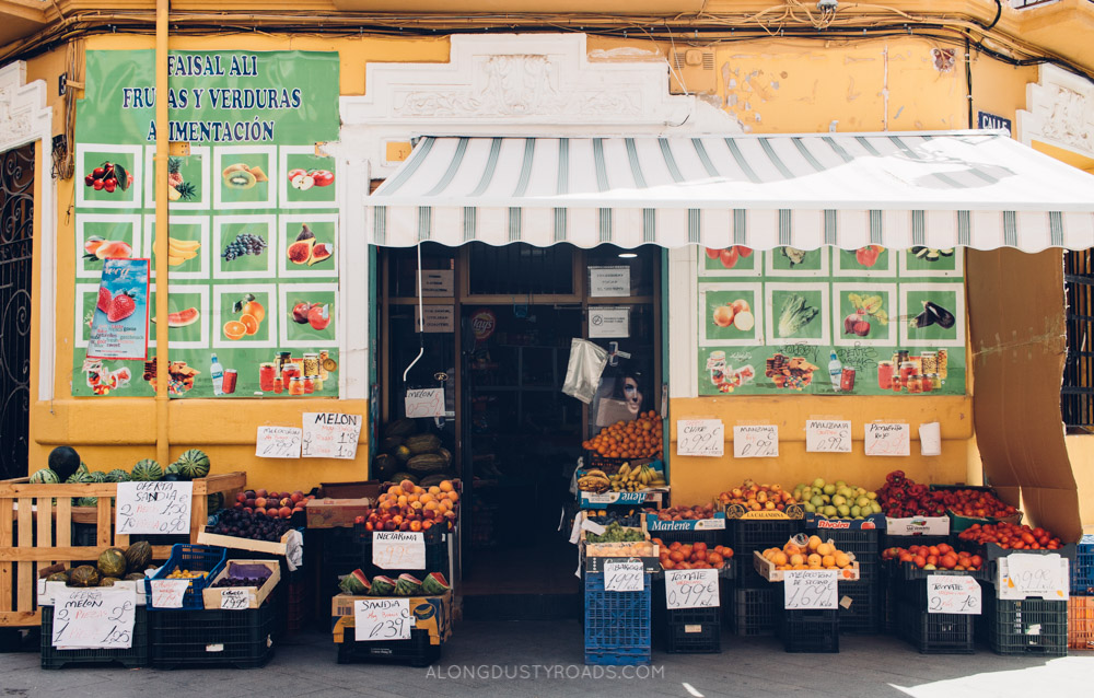 A pretty fruit shop in Ruzafa - One of our favourite things to do in Valencia.