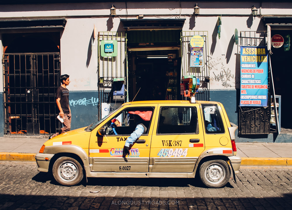 Tips for staying safe in Latin America - A taxi in Arequipa