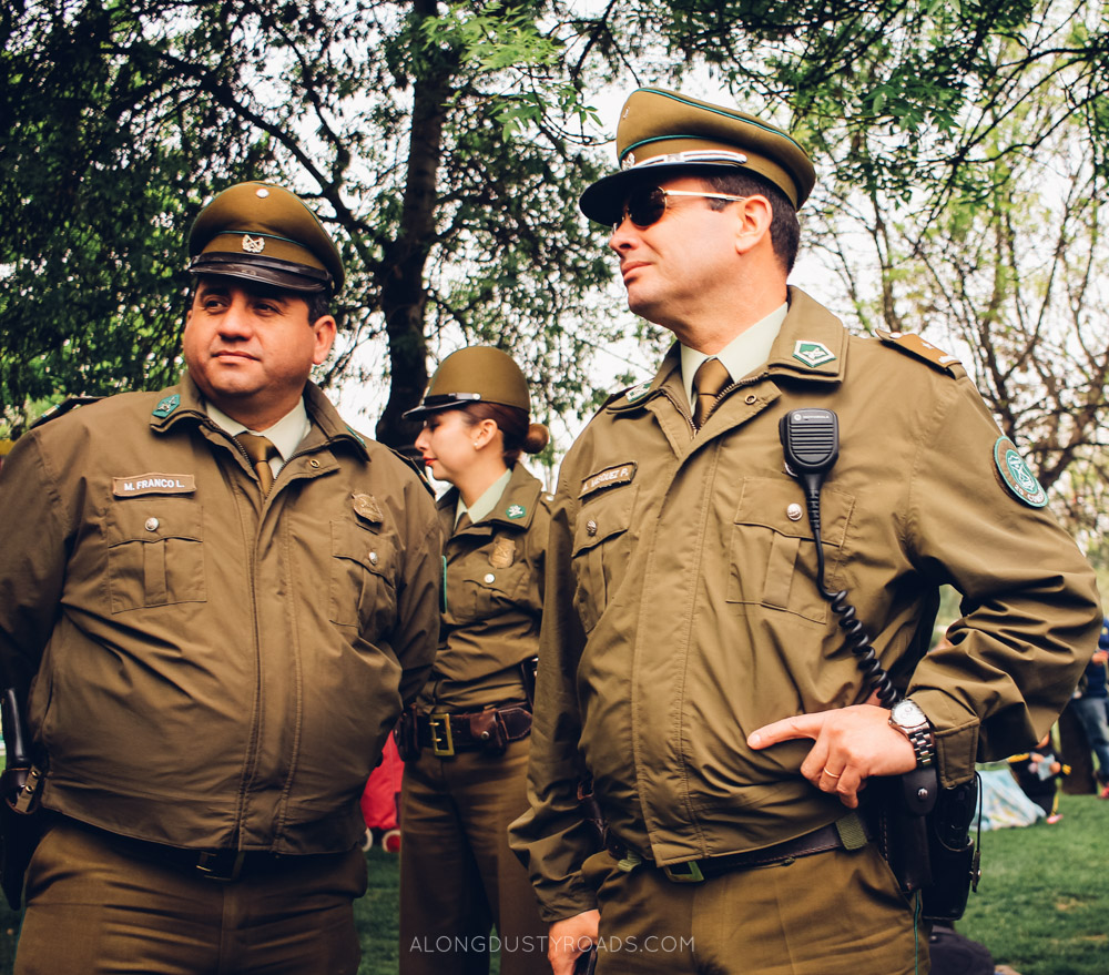Tips for staying safe in Latin America - Police in Santiago