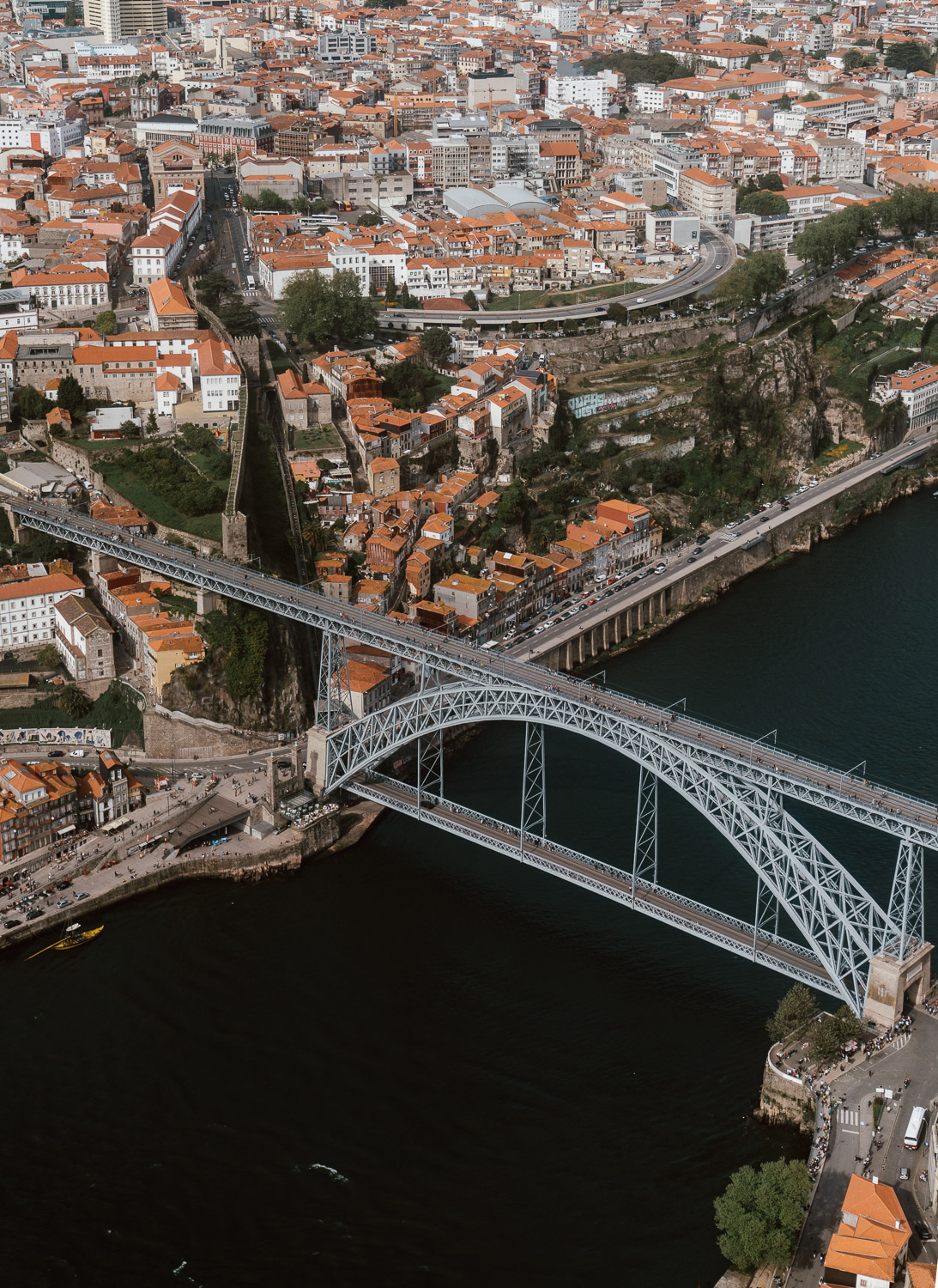 Porto Old Town from Helicopter