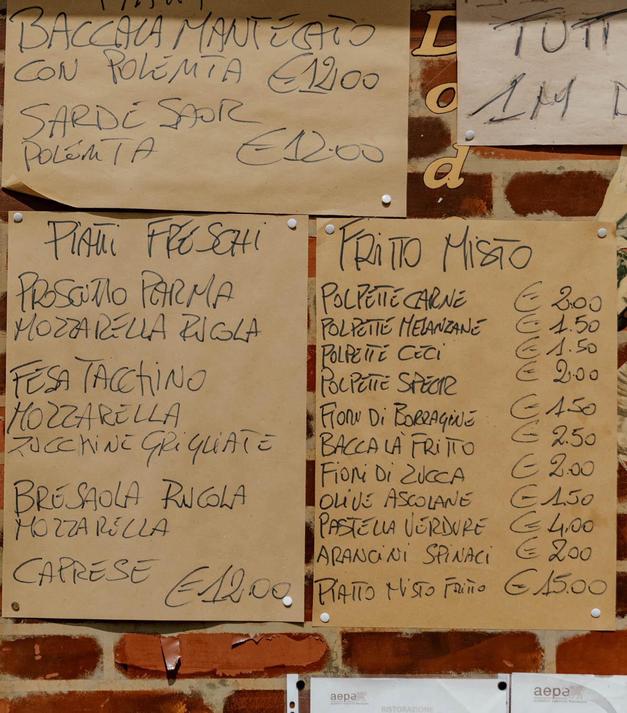 威尼斯的Cicchetti菜单