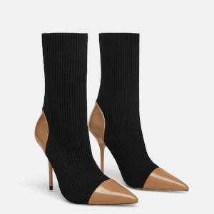 ZARA FABRIC HEELED BOOTS