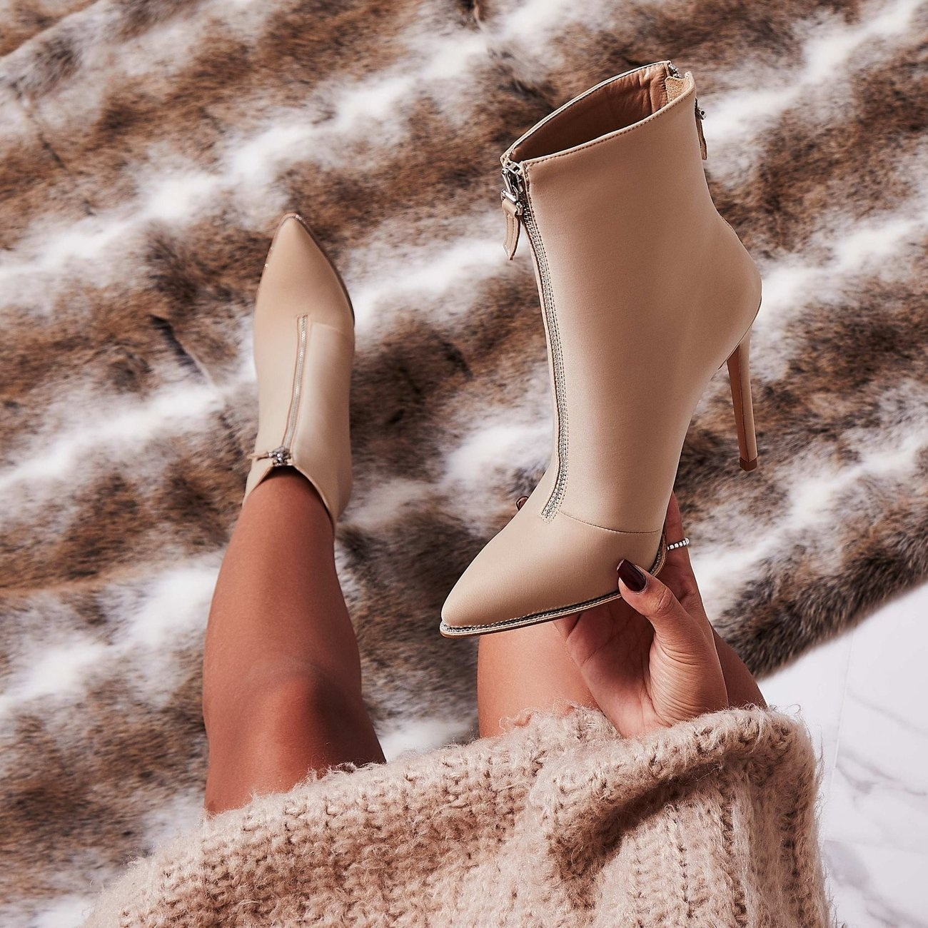 NUDE ANKLE SOCK BOOTS