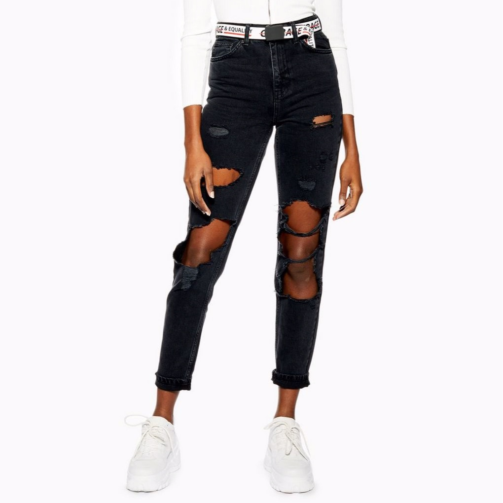 TOPSHOP DISTRESSED MOM JEANS