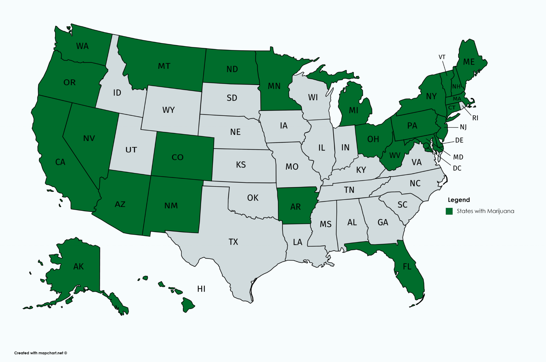 - There are 29 States with Recreational Marijuana and Medical Marijuana laws passed, as of October, 2017.2016 saw California, Nevada, Massachusetts, and Maine legalize recreational marijuana, while North Dakota, Arkansas, and Florida legalized medical marijuana.