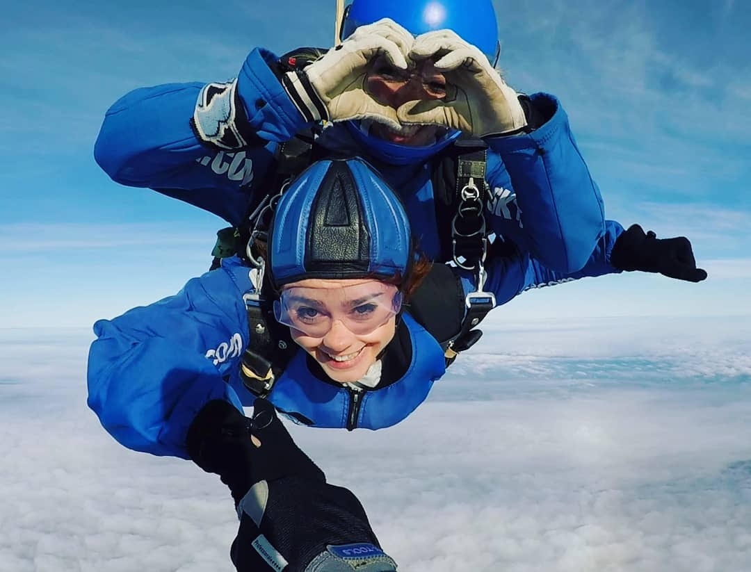 Efa's & Mimi's Skydive. - Together they raised £2,000 towards the Savoy team's total: enough to fund a teacher's training for 2 years in Sierra Leone!