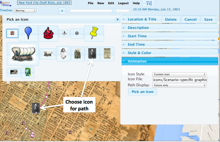 History  in Motion   provides a basic icon library, and you can import your own.  Here, we use an image of the police superintendent as the icon showing the path of his inspection trip on the first morning of the Draft Riots.