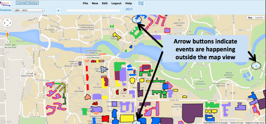 Blue arrow buttons indicate that events are happening north, south, and east of the current map view.