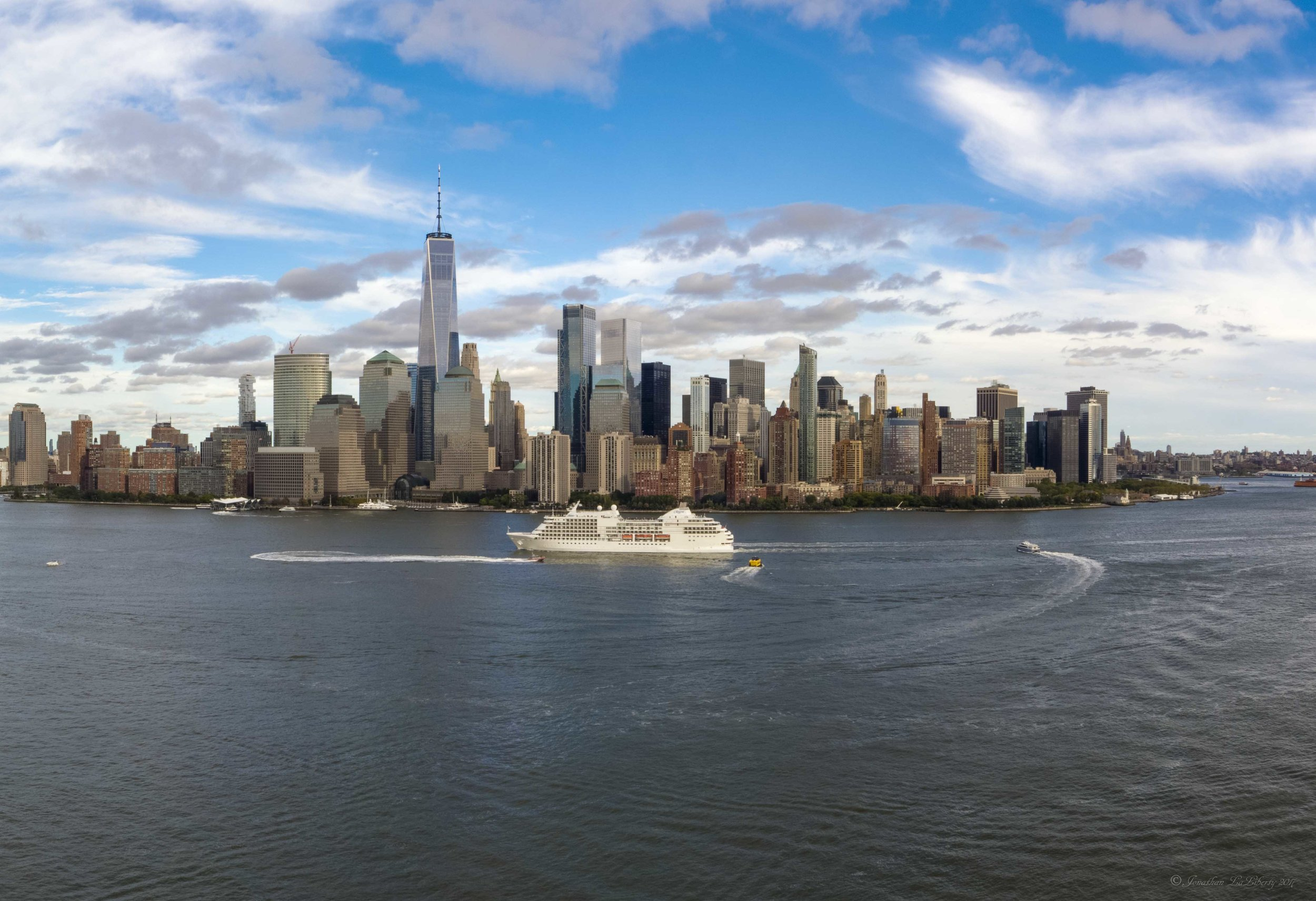 Ney York City Manhattan Drone Hudson River