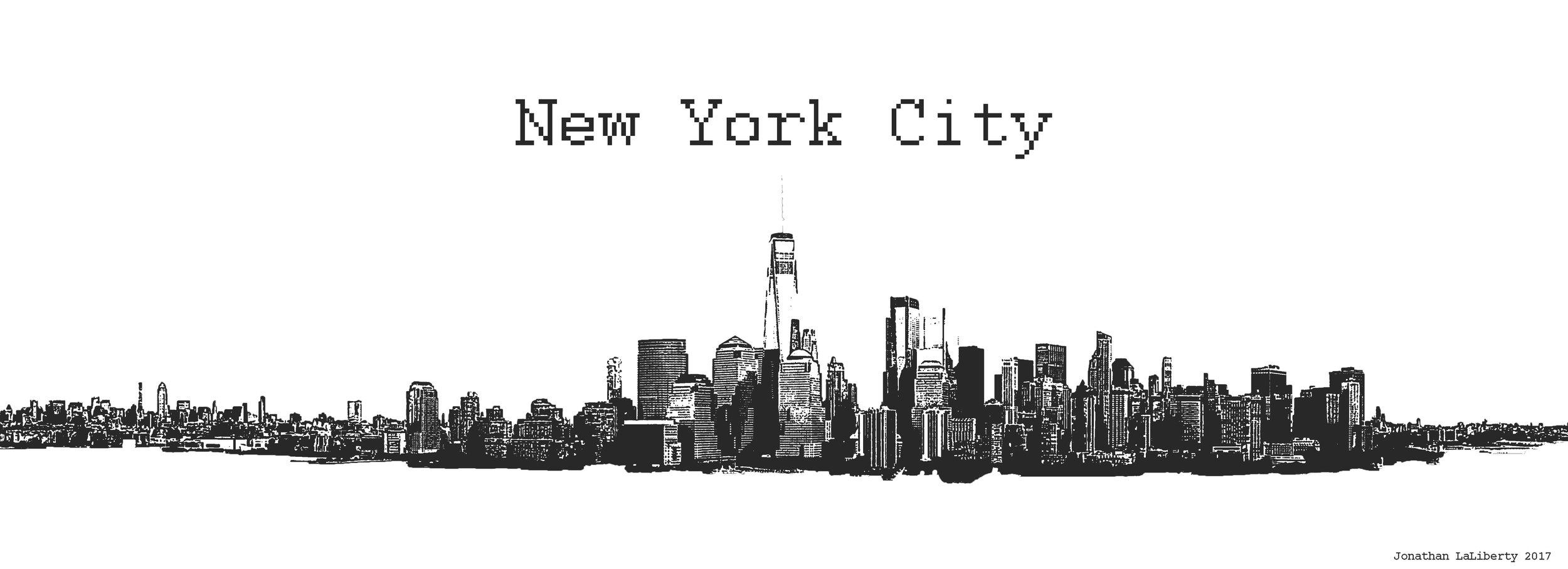 New York City Black and White Panorama