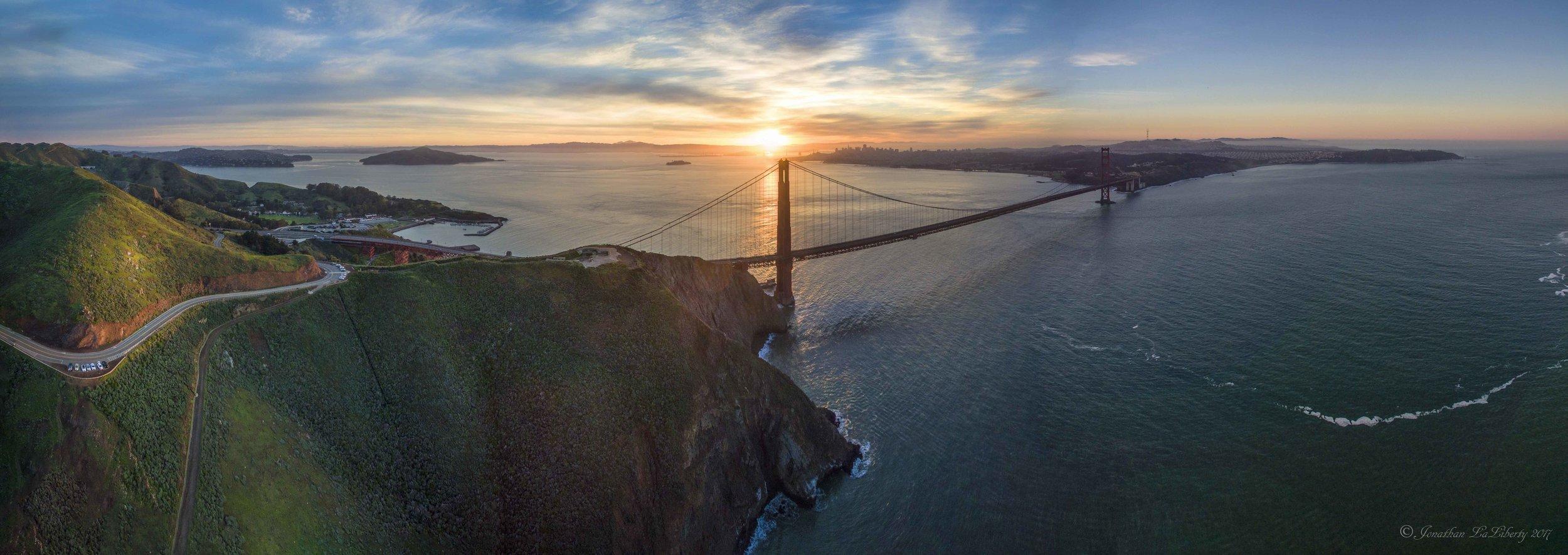 Golden Gate Bridge Aerial Drone Photography Print