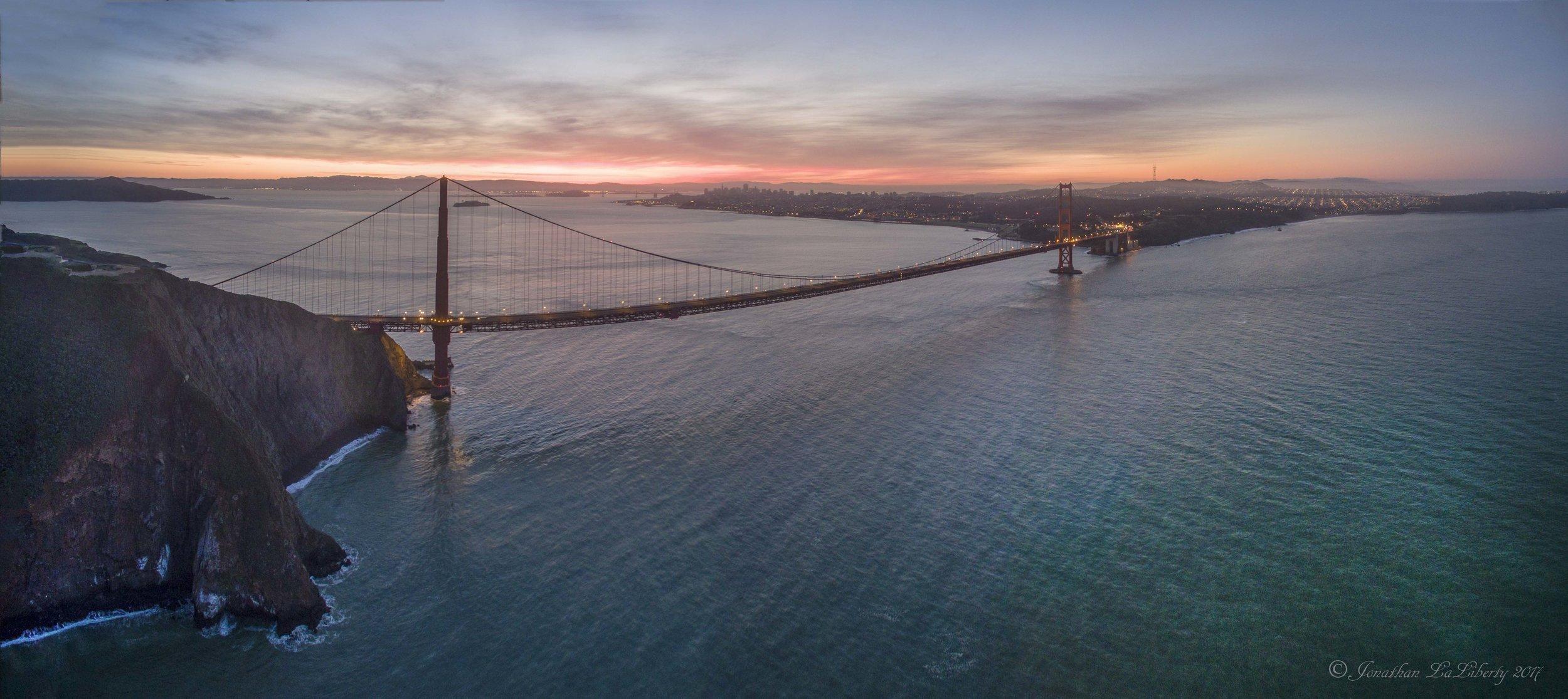 Golden Gate Bridge Sunrise Drone Photography California