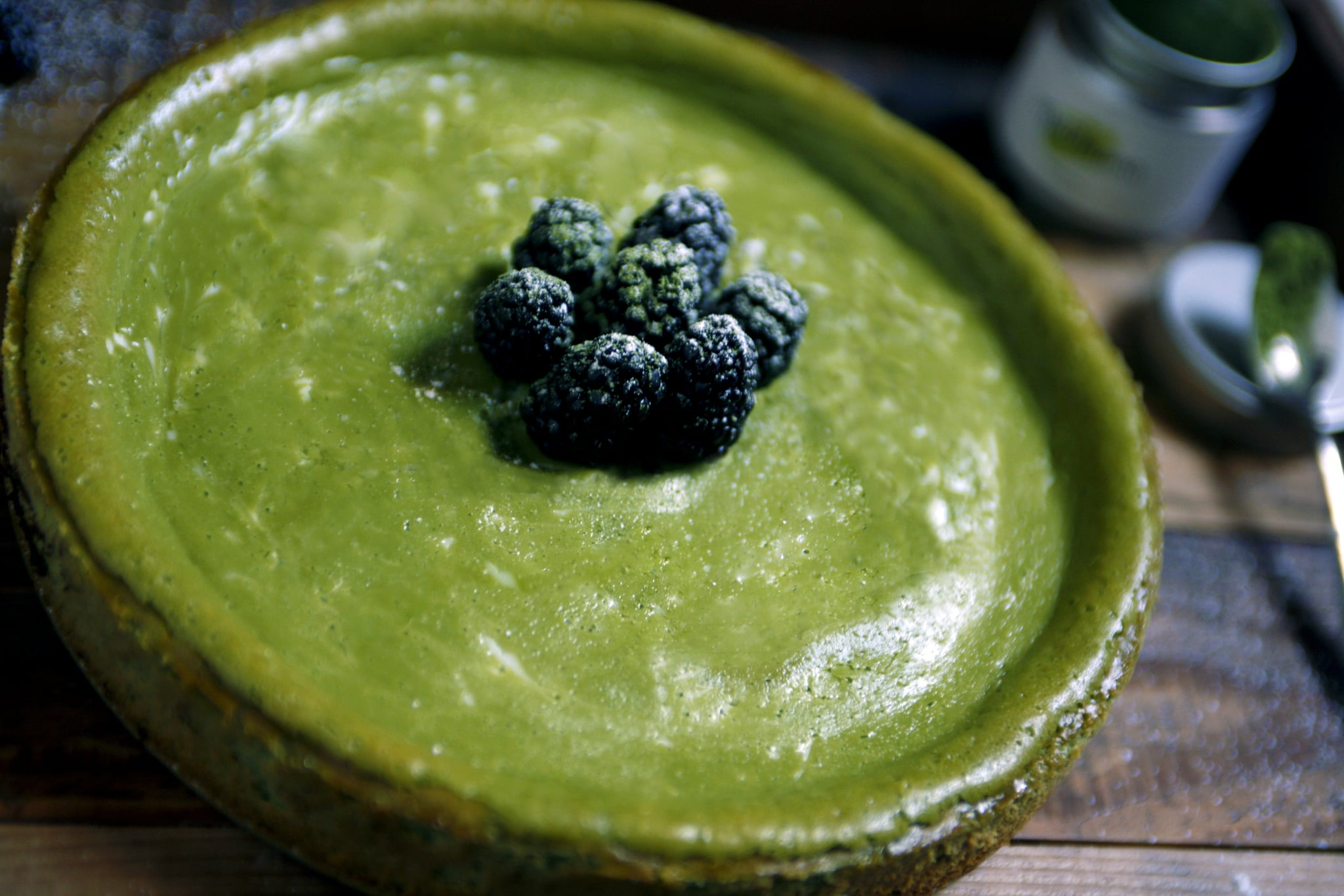 This matcha cheesecake is to die for! I put in a tad extra green tea powder for more vibrancy with the coloring.