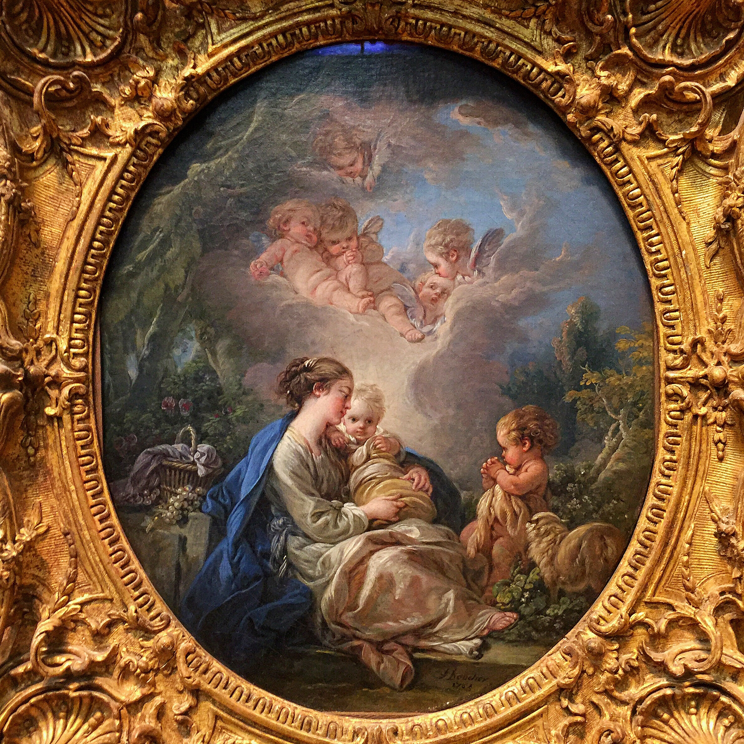 Virgin and Child with the Young Saint John the Baptist and Angels .  François Boucher . (French, Paris 1703–1770) 1765. Oil on canvas.