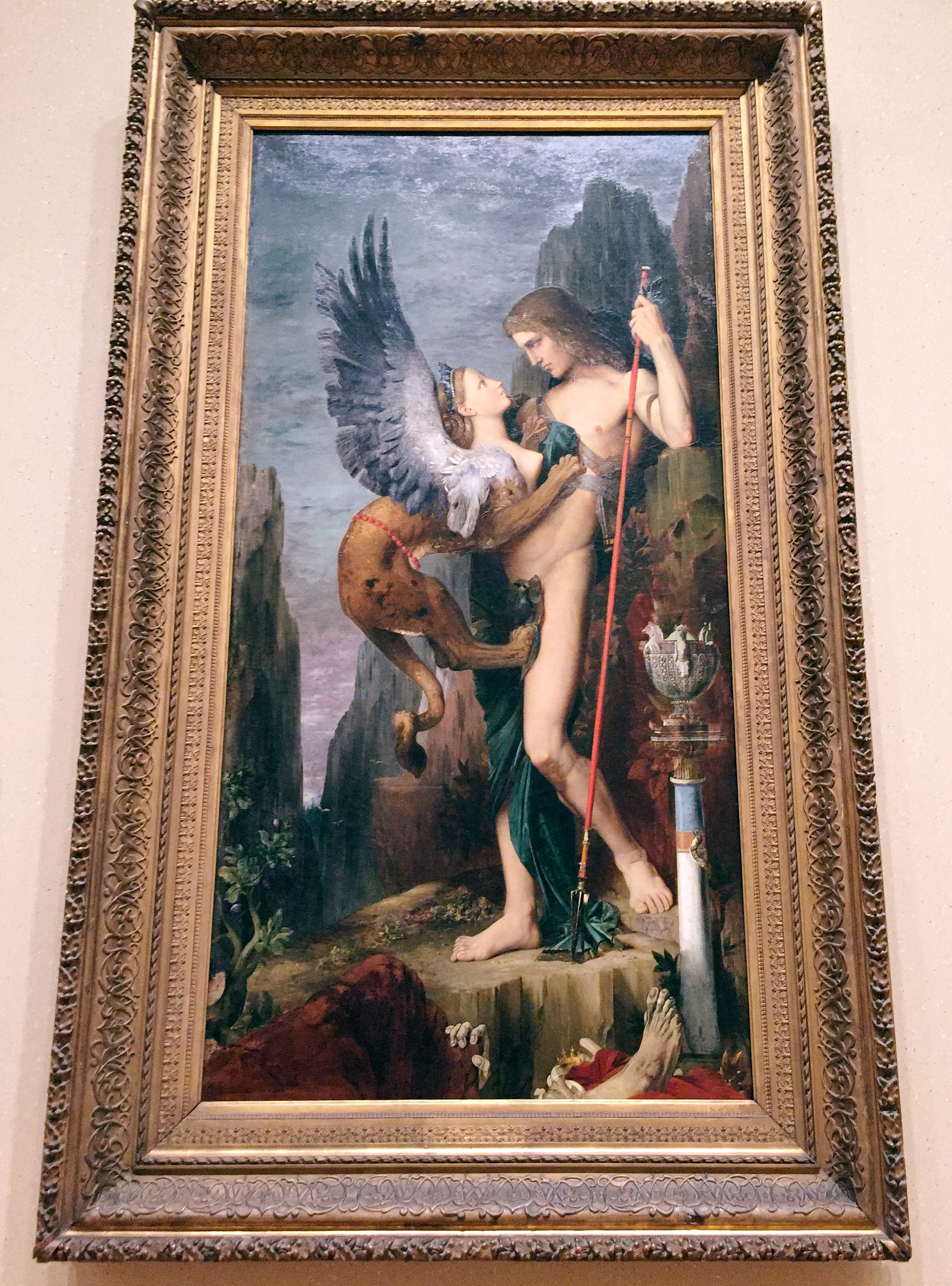Oedipus and the Sphinx .  Gustave Moreau . (French, Paris 1826–1898 Paris) 1864. Oil on canvas.