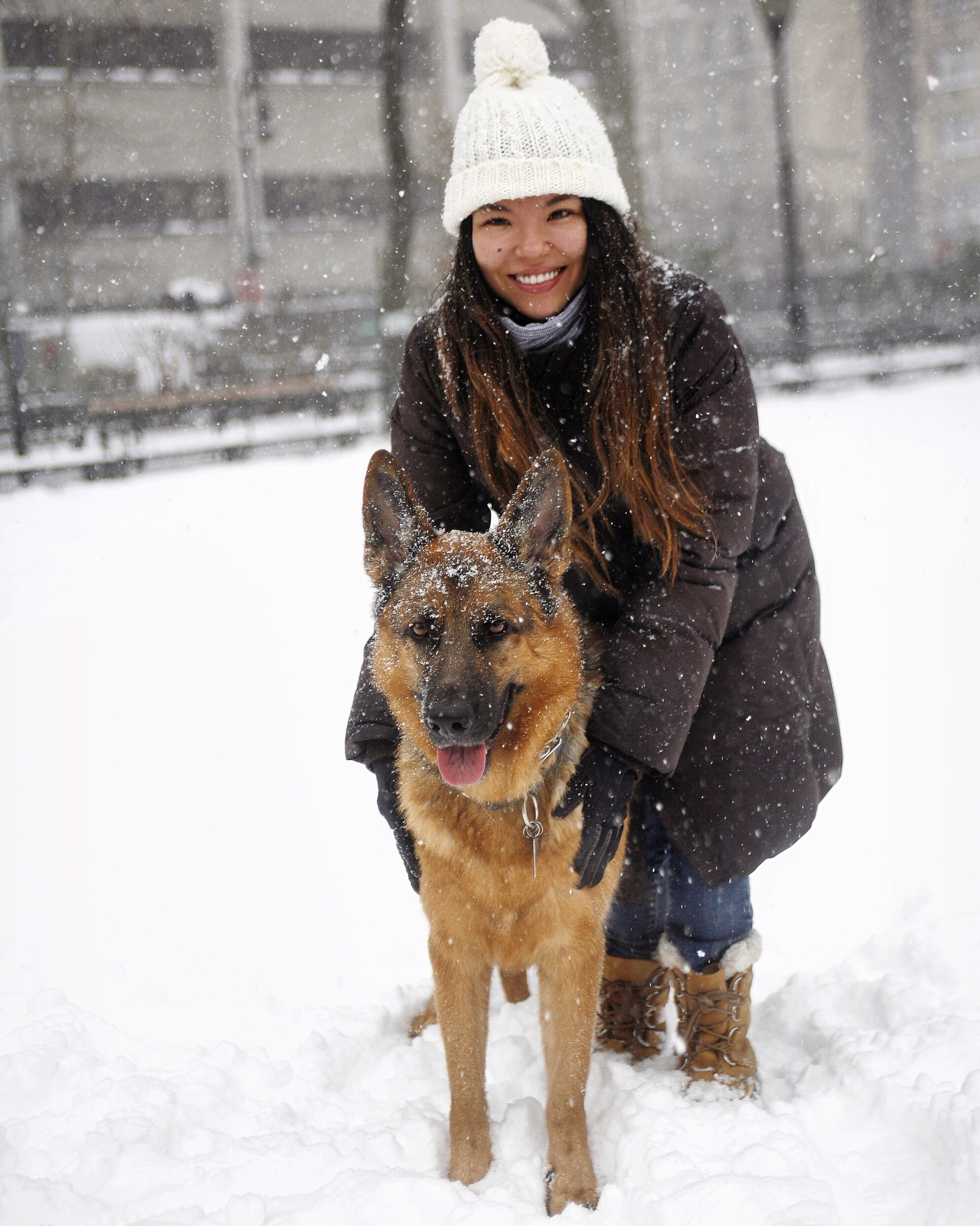 MaQ & I enjoying Blizzard Jonas . New York City, January 23, 2016. ©  Gilles Decamps