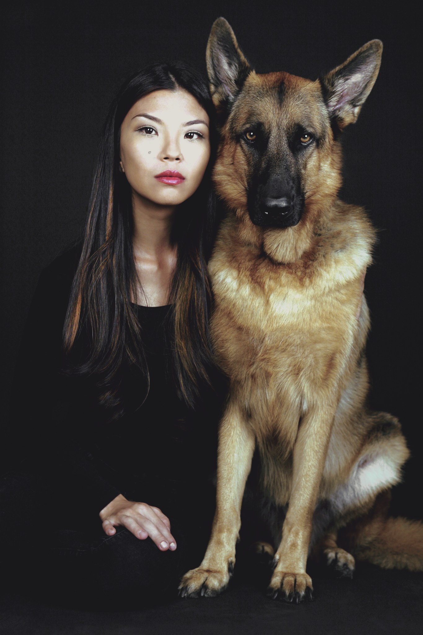 With my muse, MaQ, my German shepherd dog.  ©  Gilles Decamps