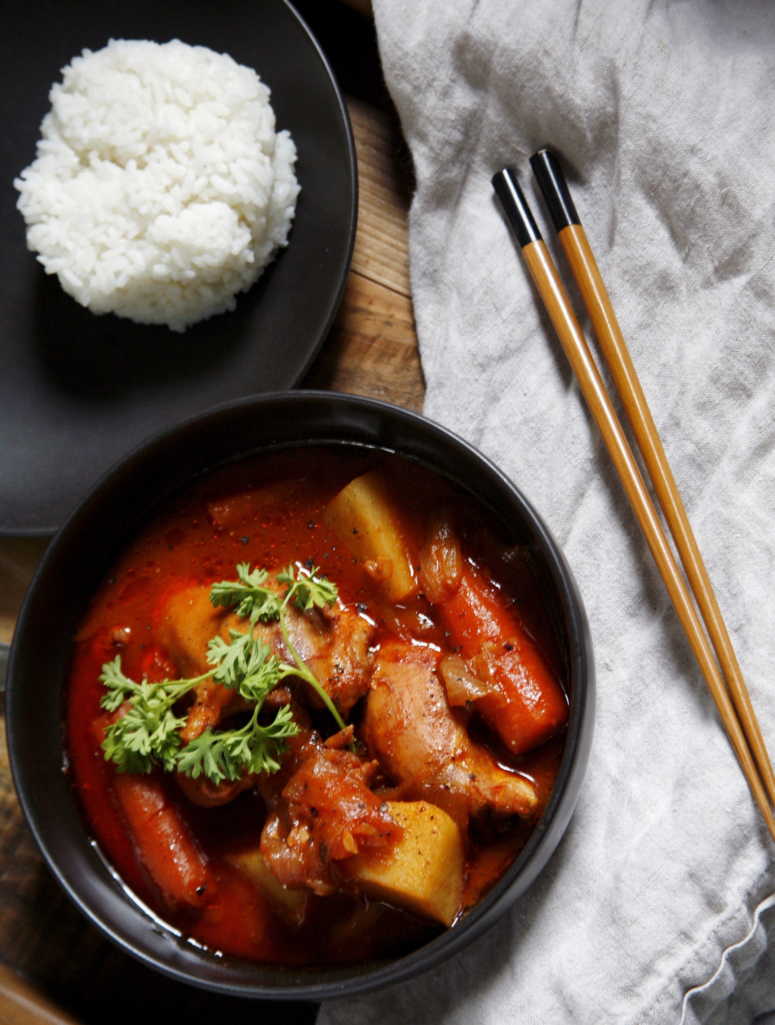 A hearty Korean chicken stew with rice.