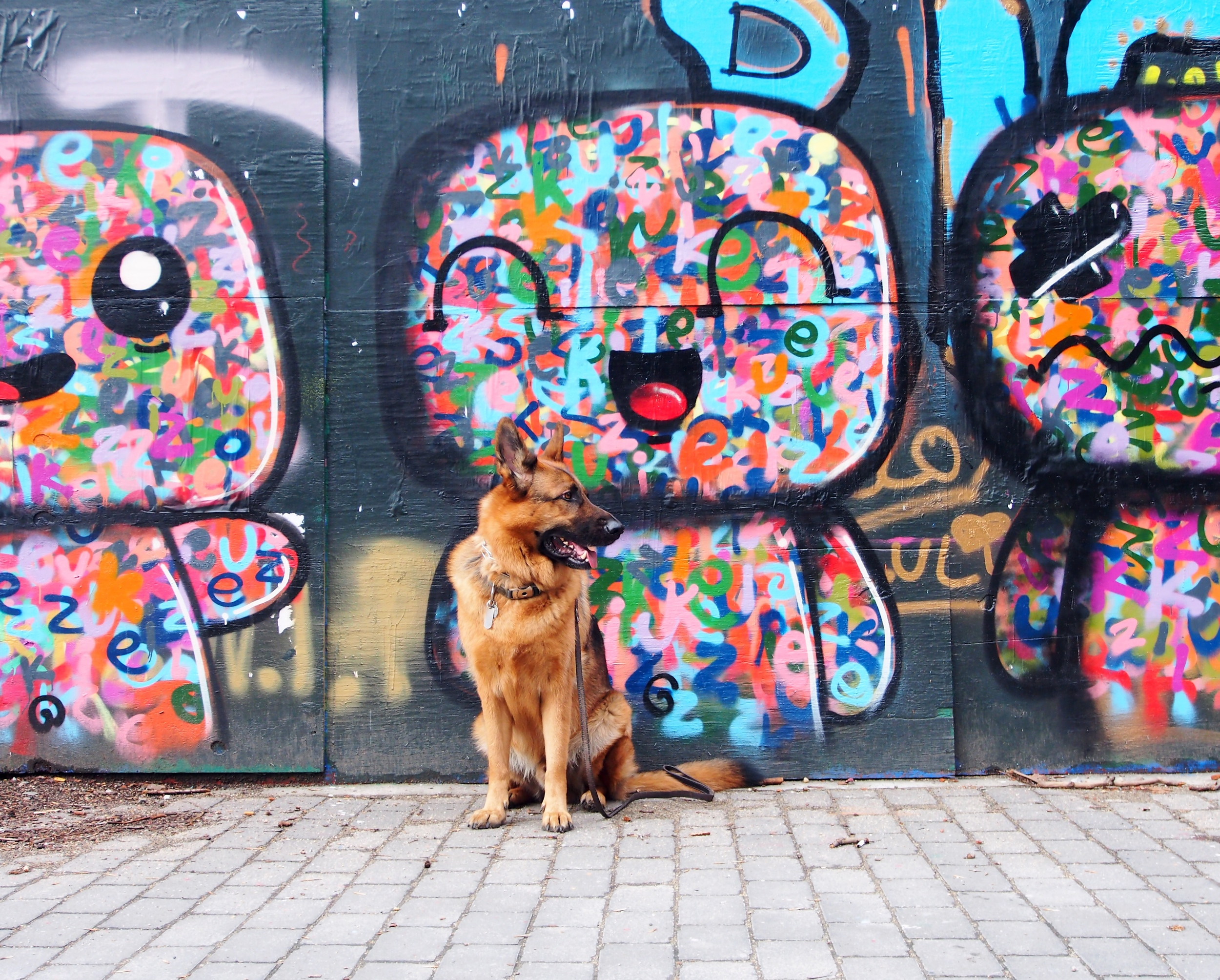 MaQ posing in front of  Miss Zukie's Art  at the  First Street Green Art Park .
