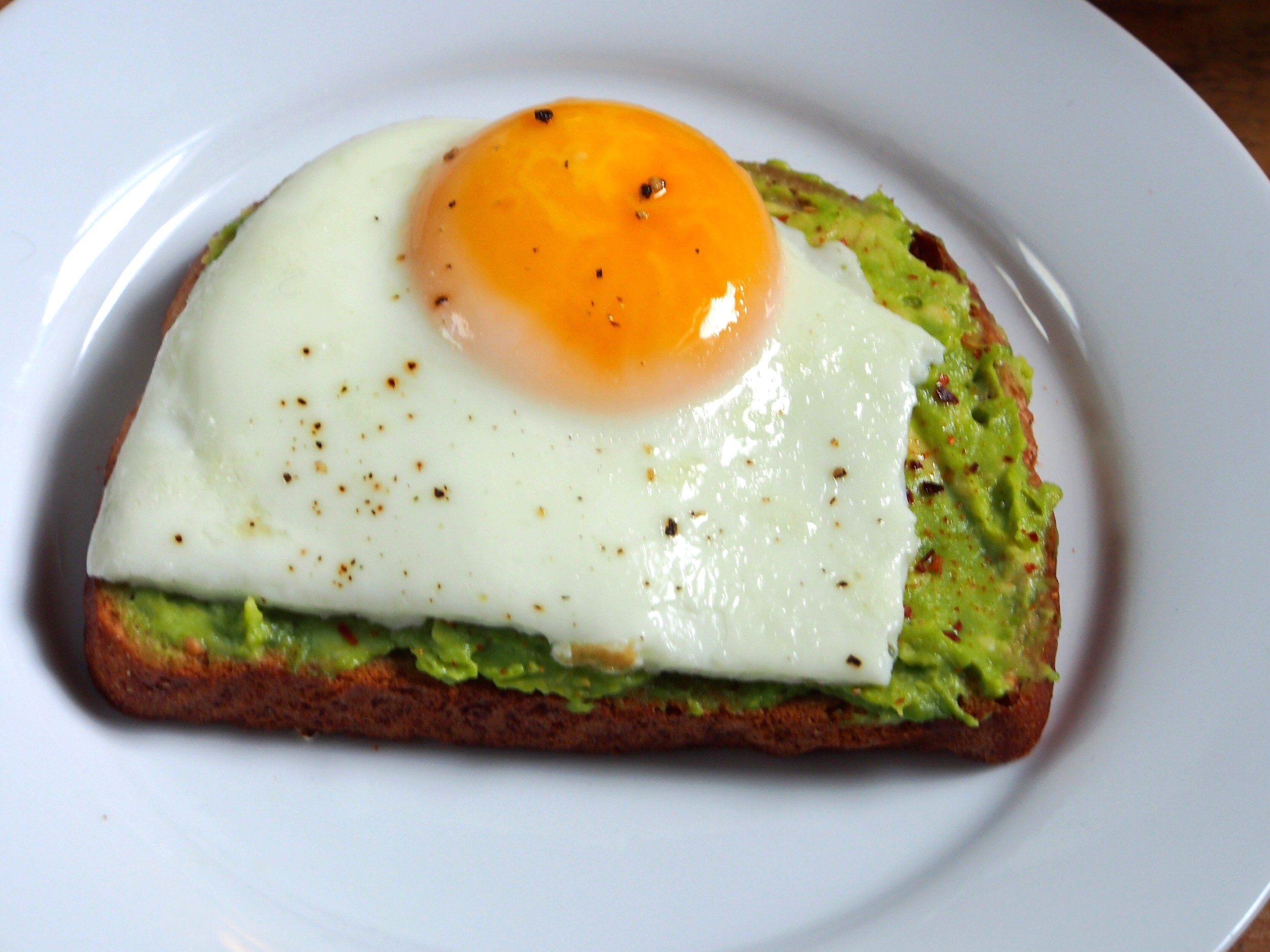 Close-up of the avocado and egg open-faced sandwich. Yum!