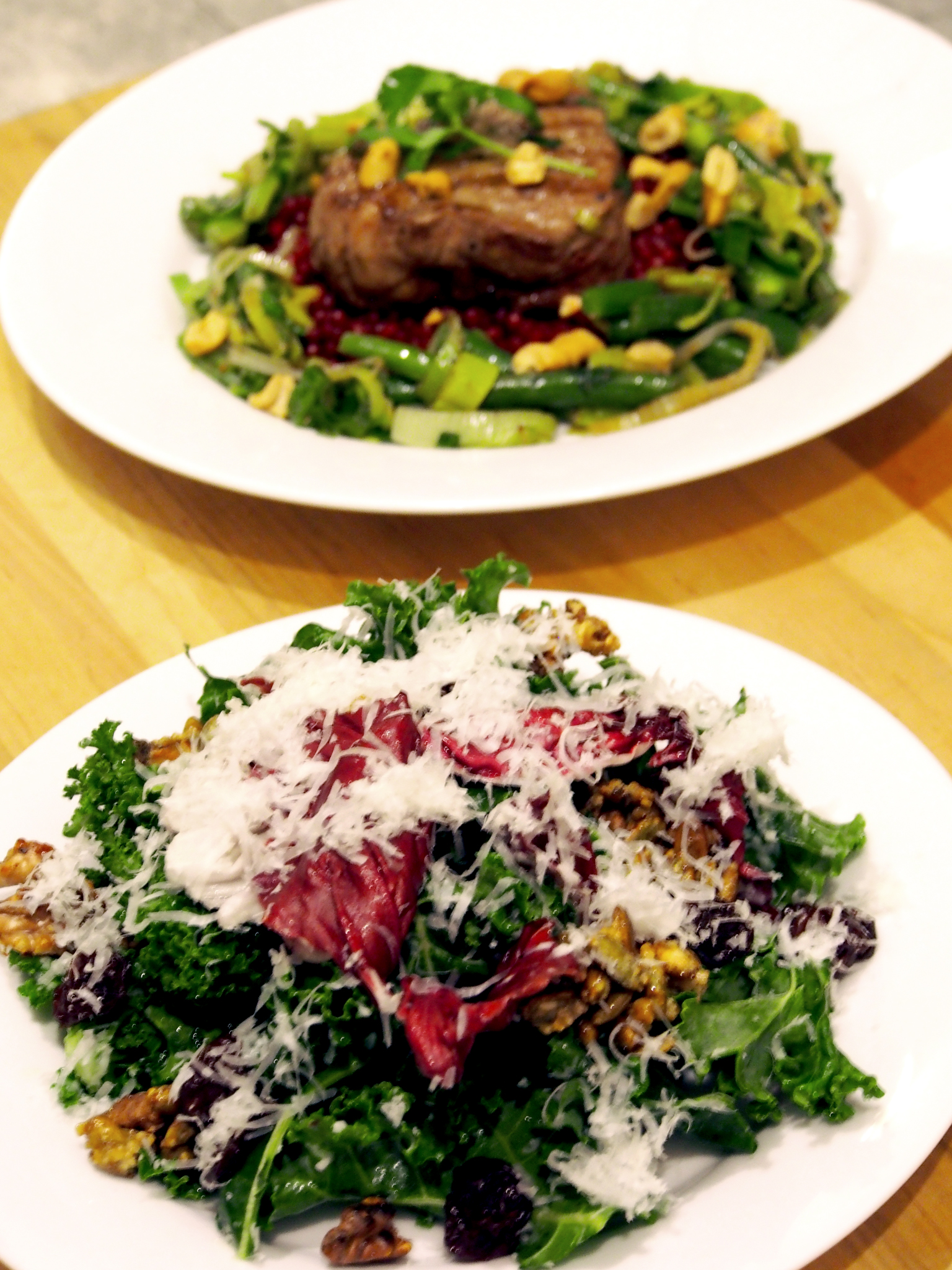 Cherry, Kale & Walnut Salad with Lavender Steak on Pearl Couscous from  Meisterdish  in NYC.