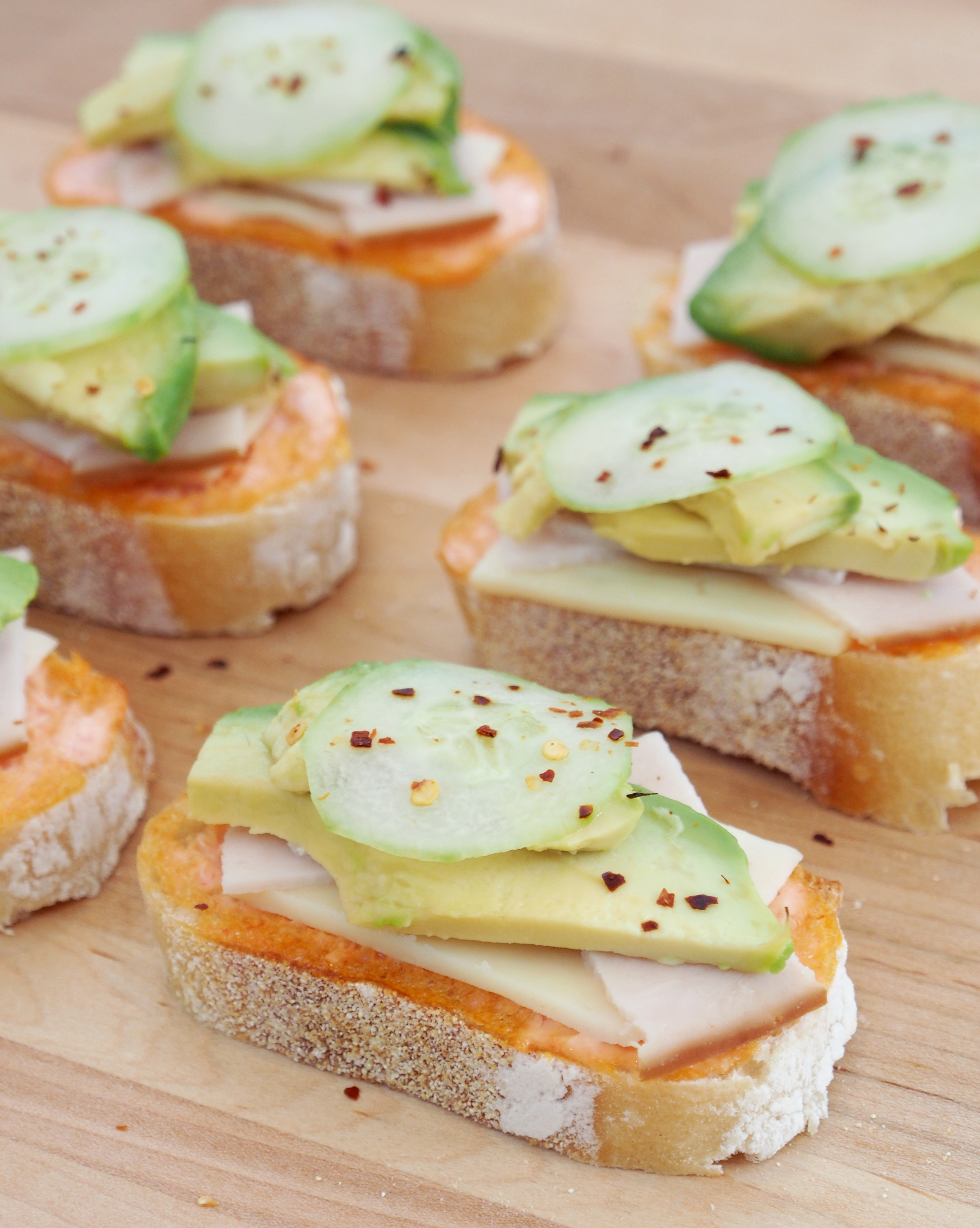 Mini Open Faced Turkey Avocado Sandwiches