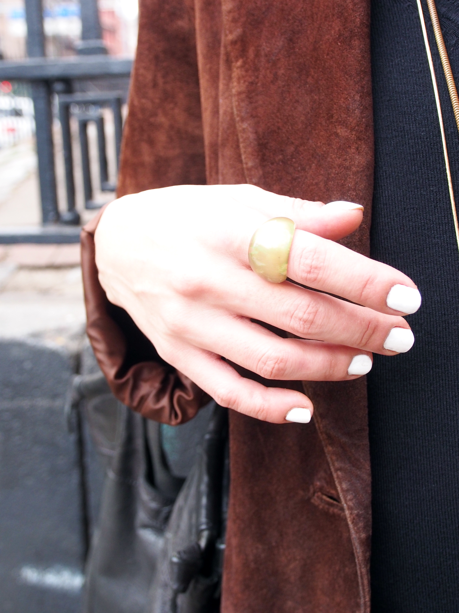 White on gold. Nail polish from  Essie  | color: blanc | Ring from  H & M .