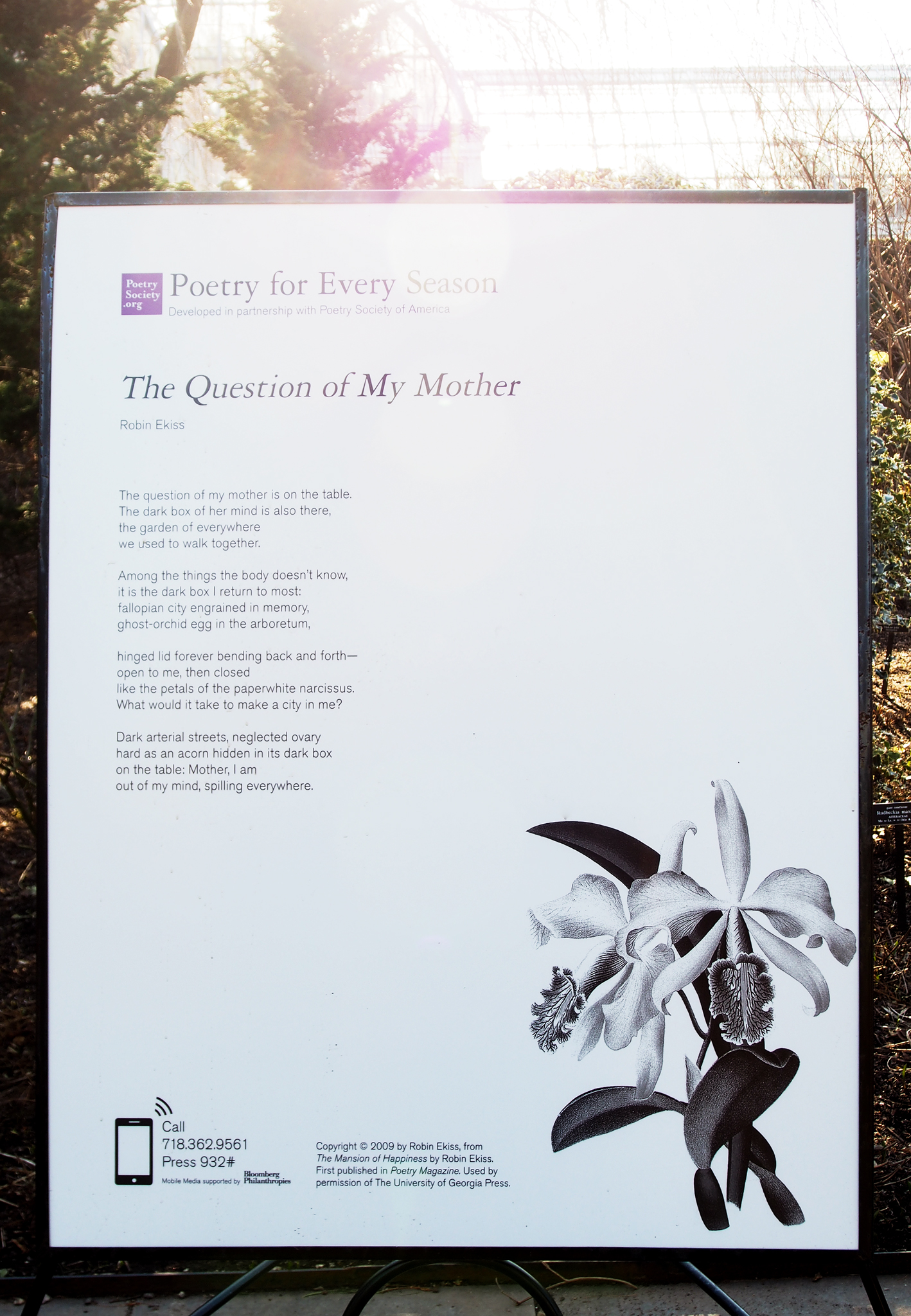 The   Question of my Mother   poem by  Robin Ekiss , from   The Mansion of Happiness  .