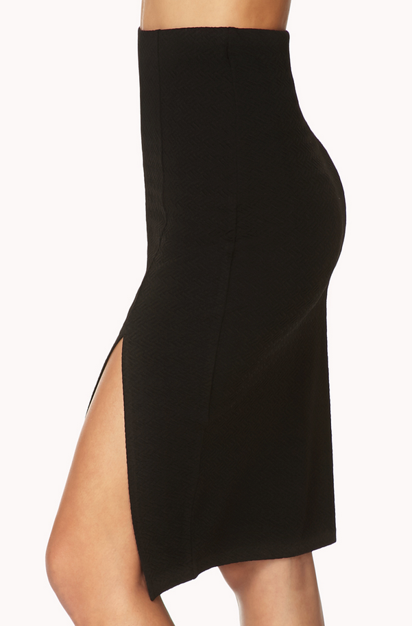 Forever 21 Black Mattelassé Pencil Skirt