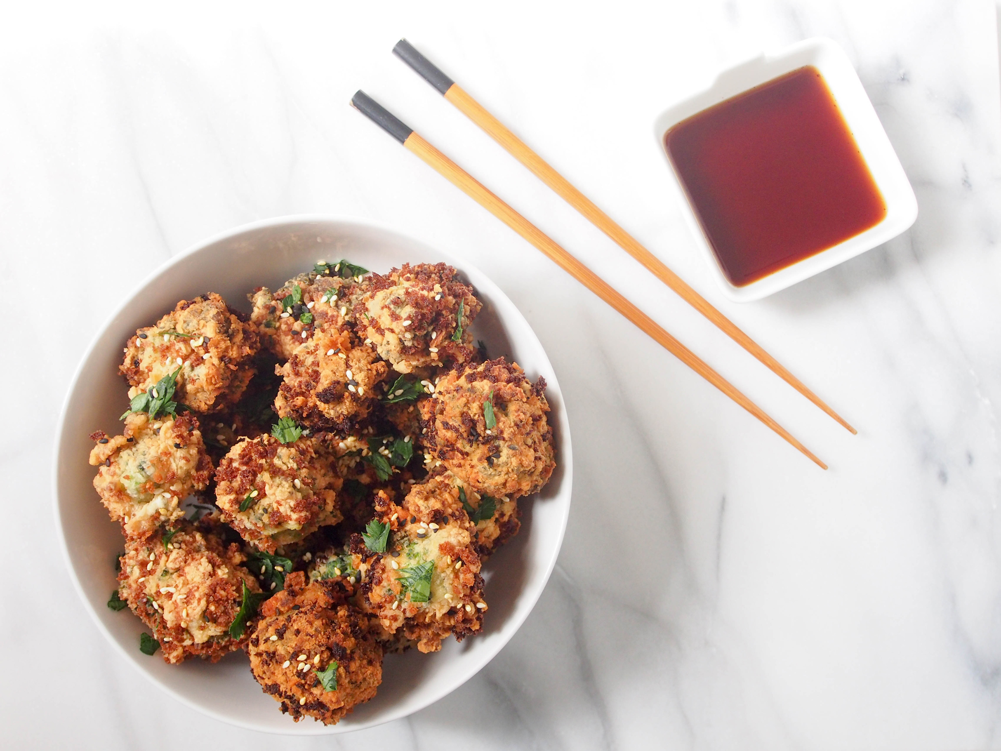 Korean Fusion: Fried Sesame Broccoli Bites with Ponzu Sauce