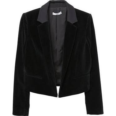 Mango Velvet Crop Blazer Black