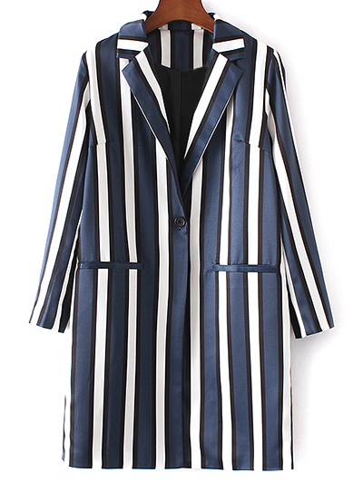 Zaful Striped Lapel Collar Long Sleeve Coat