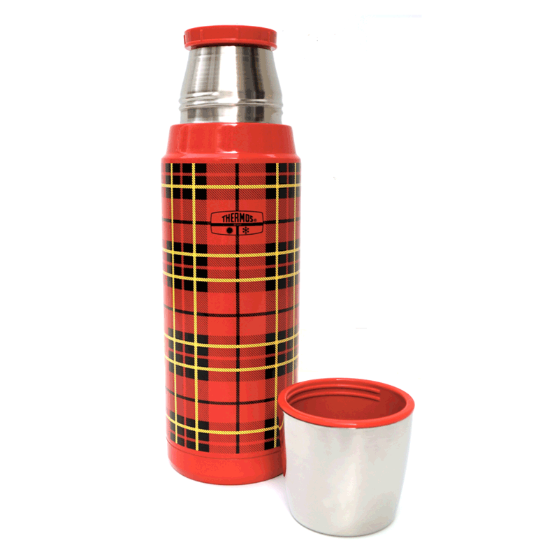 GENIUNE THERMOS RED HERITAGE PLAID BOTTLE