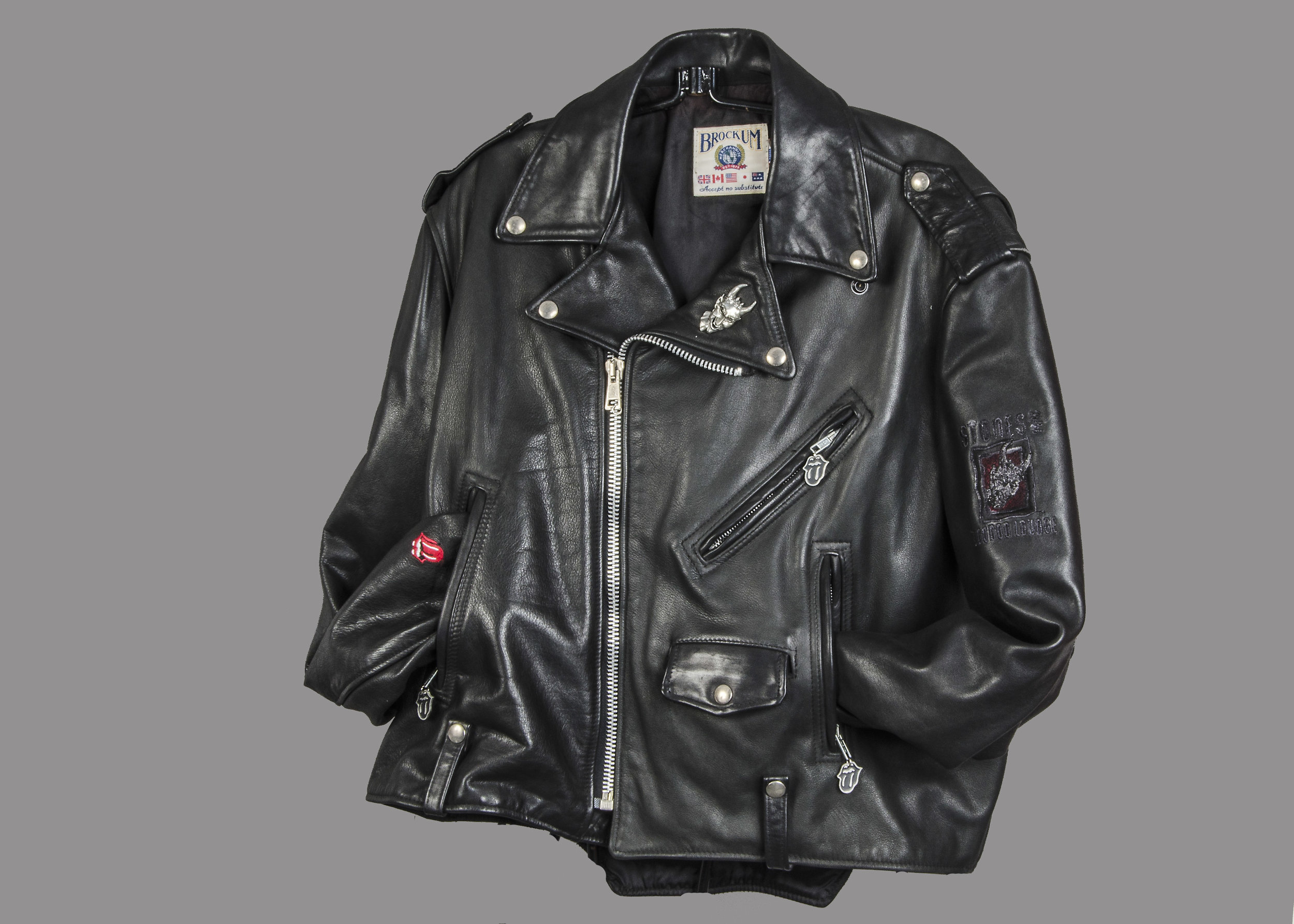 Vintage Rolling Stones Motorcycle Leather Jacket