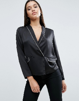 Victoria's Secret Black Satin Pajama Blouse