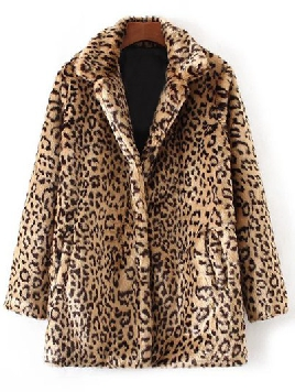 Zaful Faux Fur Leopard Coat