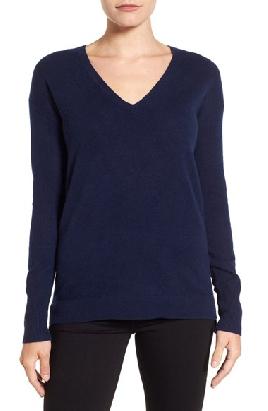 Halogen V Neck Navy Blue Sweater