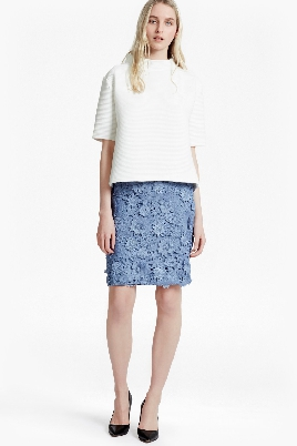 French Connection 3D Floral Lace Pencil Skirt