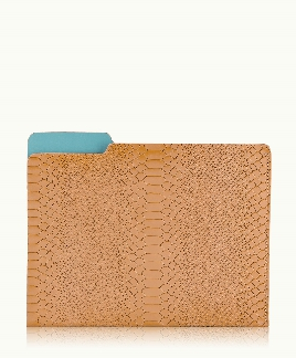 Gigi New York Carlo File Folder British Tan Embossed Python Leather