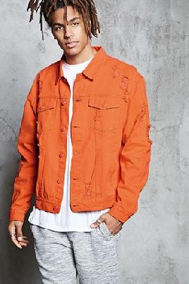 Forever 21 Denim Distressed Jacket Orange Men's