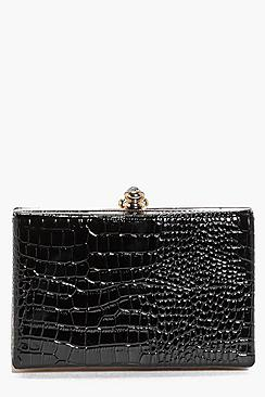 BooHoo Mock Croc Clutch Bag